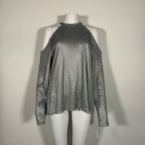 Bar lll Blouse Top Cold Shoulder Gray Silver XXL